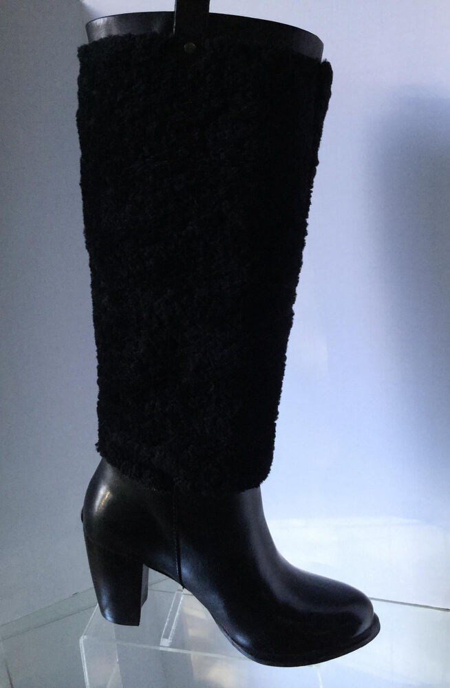 d5d38914cb NEW UGG Women's Ava Exposed Fur Tall Boots, Black (Size 5.5) - MSRP ...