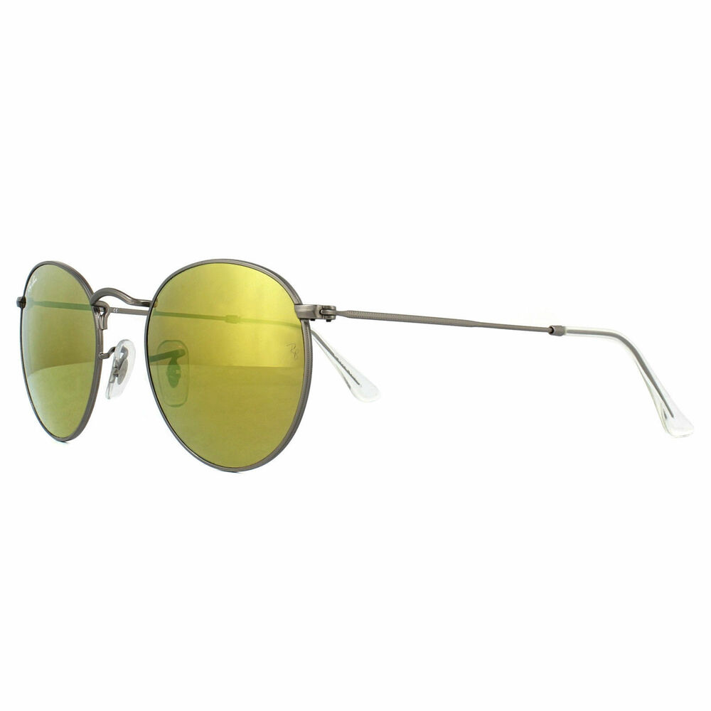 b036edc20e0 Details about NEW Ray-Ban RB3447 029 93 Gunmetal Yellow Mirrored Lens Round  Sunglasses-50mm