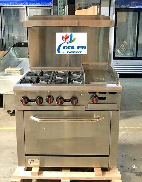Details About New 36 Oven Range Combo Griddle Hot Plate Stove Top Commercial Kitchen Nsf