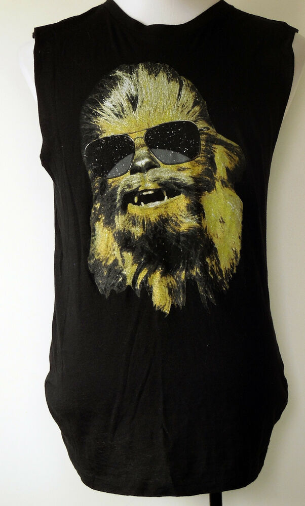 258b2381f Details about Chewbacca with Sunglasses Cool Wookie Black Lightweight  Sleeveless T-Shirt M