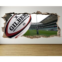 WS13 RUGBY STADIUM POSTS 3D HOLE IN WALL SMASH WALL ART DECAL sticker MURAL team