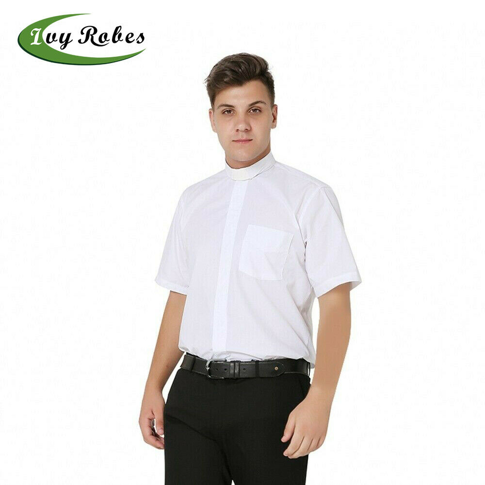Ivyrobes Mens Short Sleeves Clergy Shirt With Slip In Tab Collar Ebay