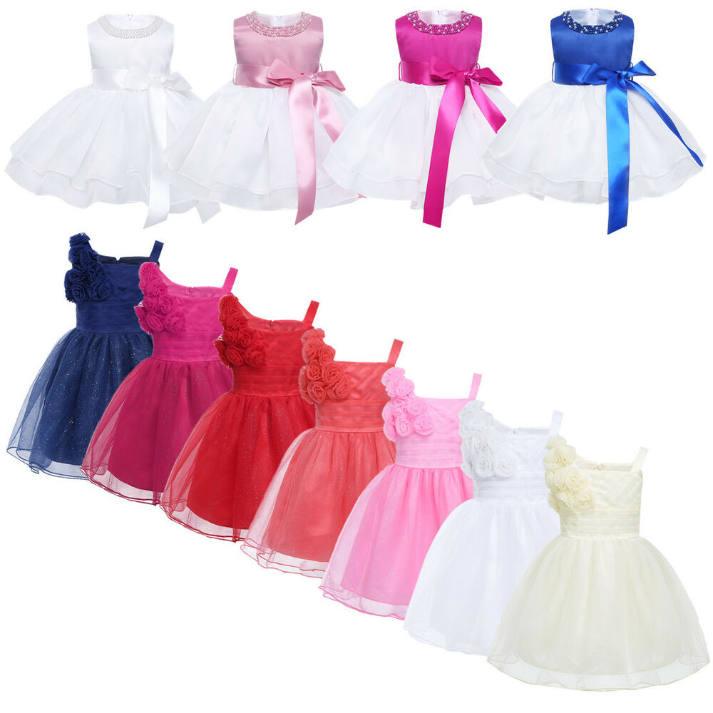 35fe8a45dd79 Baby Girls Princess Dress Flower Party Pageant Wedding Christening ...