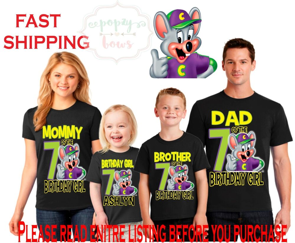 Details About CHUCK E CHEESE GIRL OR BOY Birthday Black Shirt Family Dad Mom Brother Name Age