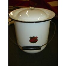 Vintage Black and White Enamel Ware CHAMBER POT With Lid U S Standard Flintstone