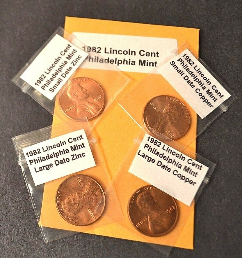 1982 Lincoln Cents 7 Coin Variety Set Large Date Small Date Copper /& Zinc