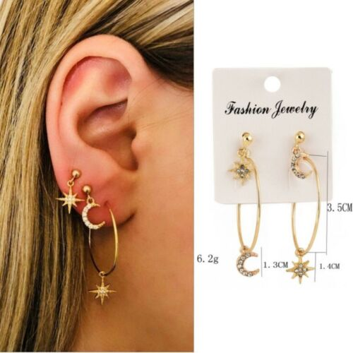 Bohemian Large Circle Gold Earrings Ear Clip Crystal Moon Star Stud Jewelry
