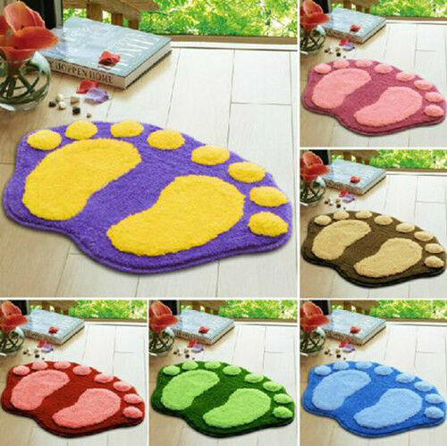JO Nonslip Absorbent Soft Velvet Footprint Bath Bathroom Floor Shower Mat Rug
