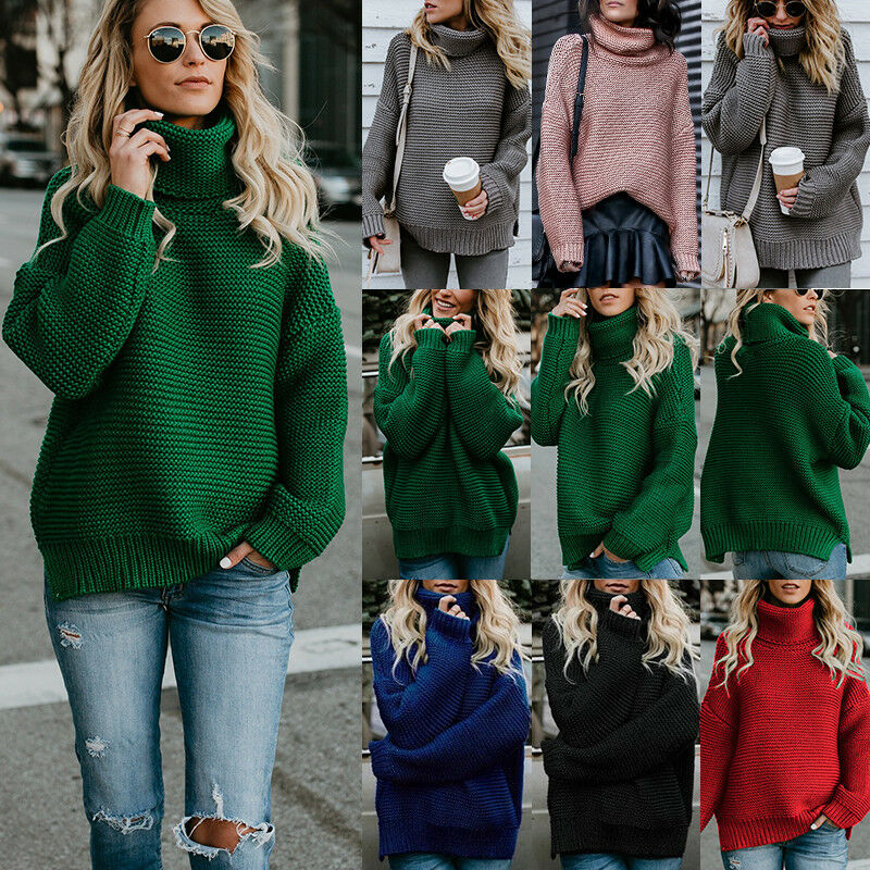 c9fd24249b Details about New Womens Winter Turtle Neck Baggy Tops Chunky Knitted  Oversized Sweater Jumper