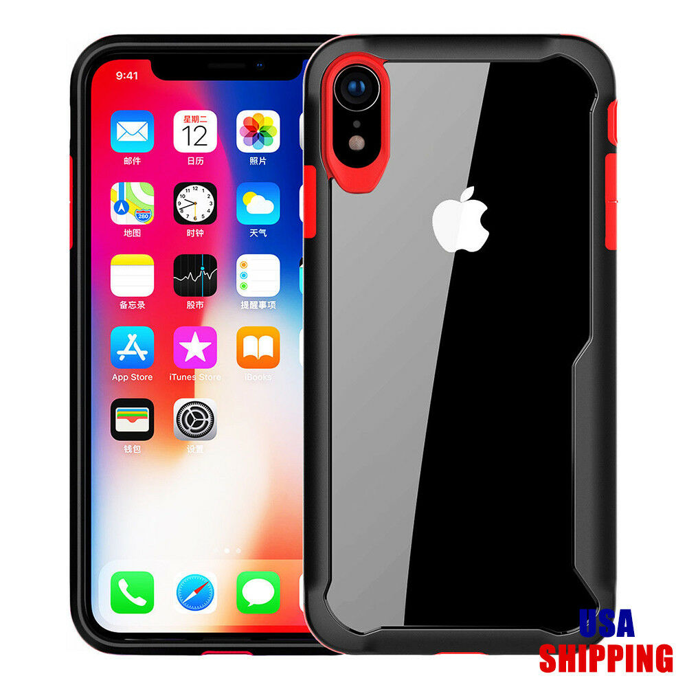 Details about For iPhone X XS Max Phone Case Clear Hard Back Cover Black  Bumper Hybrid Cases 22c05d26795b