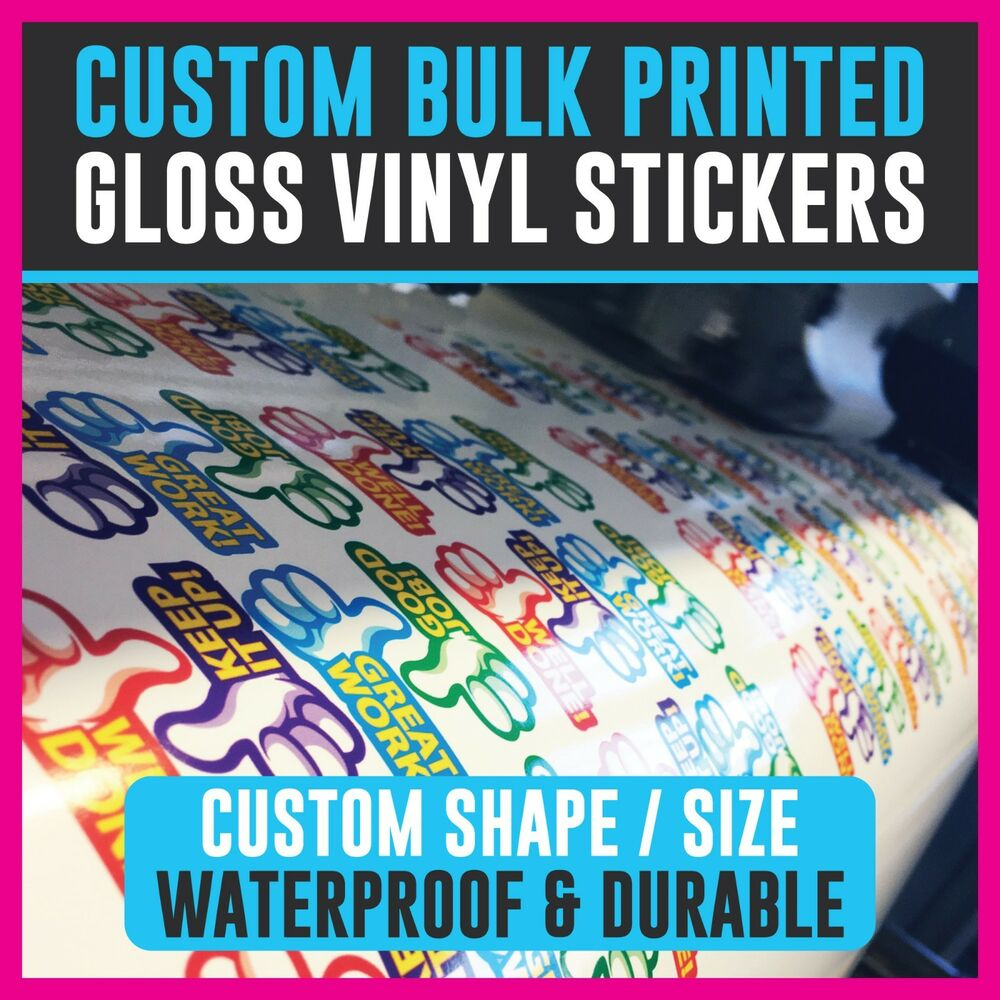 Details about bulk printed custom stickers gloss vinyl personalised stickers business logos