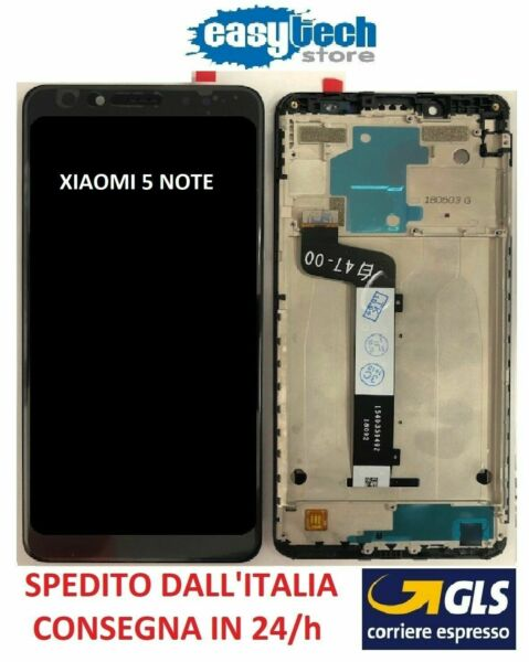 Touch Screen  LCD Display Vetro Schermo con Frame Per XiaoMi Redmi NOTE 5   Nero