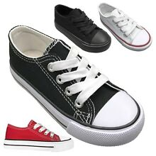 1d8511407db87f NEW Baby Toddler Canvas Lace Up Low Top Sneakers Shoe Size 4 to 9 Boys Girls