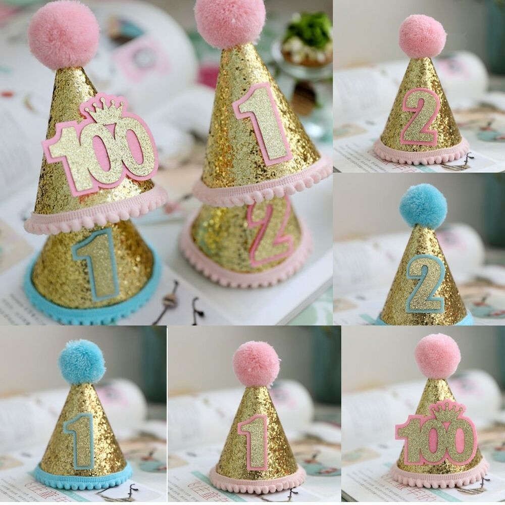 Details About Newborn Baby Boy Girl First Birthday Hat Crown Numbers Headband Tiara Party