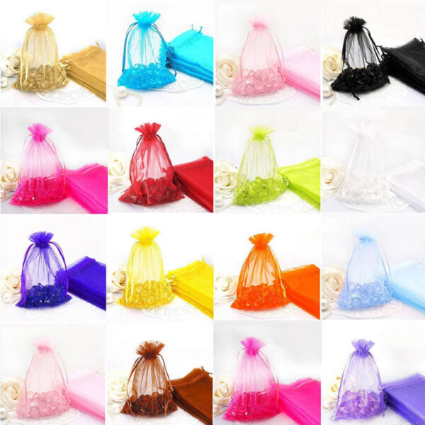 100Pcs Organza Drawstring Bags Jewelry Candy Pouch Packing Wedding Party Favour