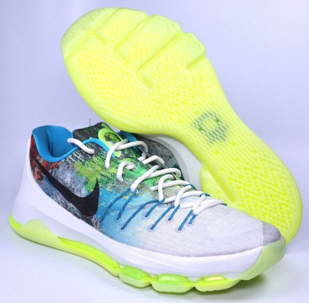 sneakers for cheap 58e64 5882d Details about Nike KD 8 N7 Mens White Black Liquid Lime Basketball Shoes  Size 9   811363-123