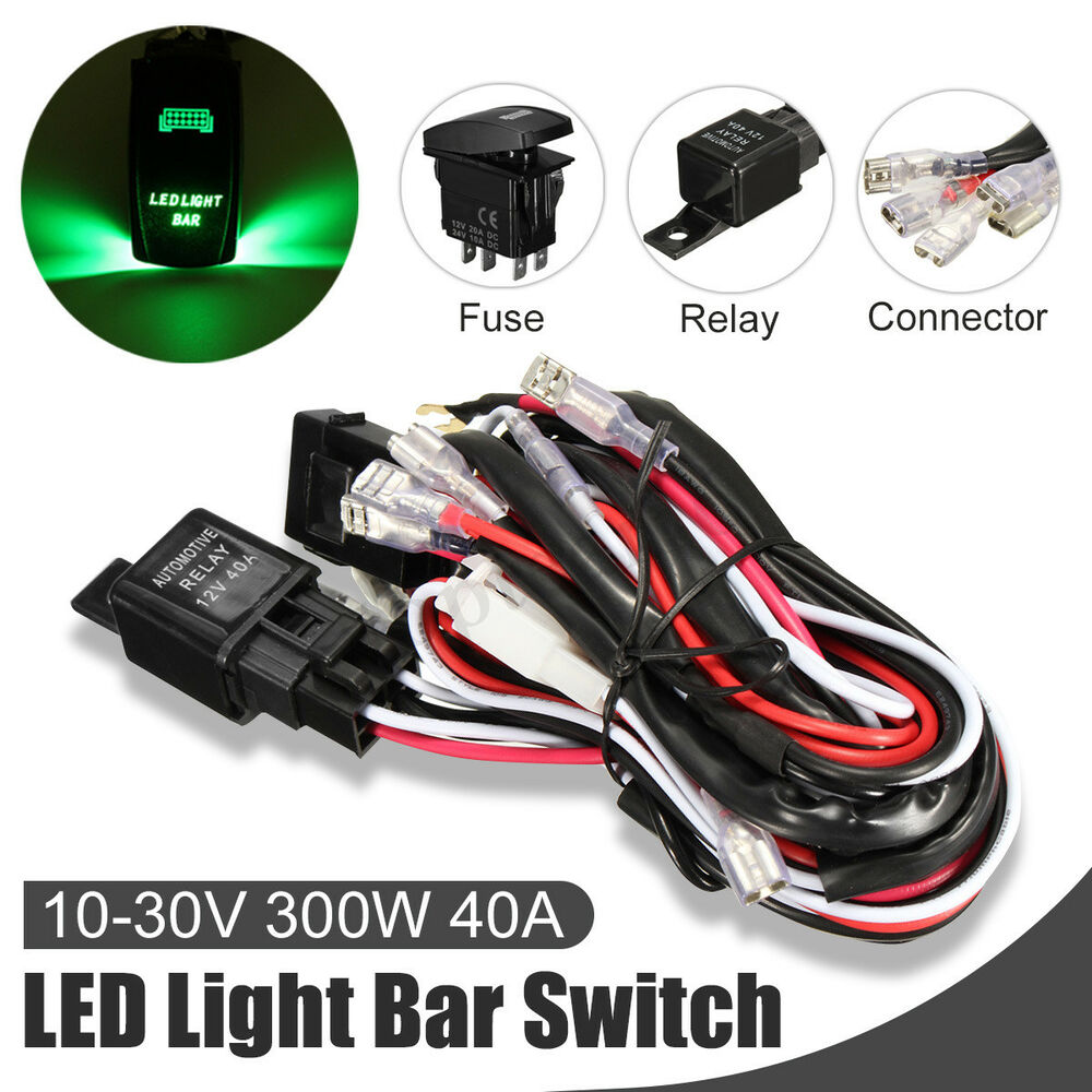 12v 40a 5 Pin Relay Fuse On Off Wiring Harness Led Light Bar Laser A For Rocker Switch Ebay