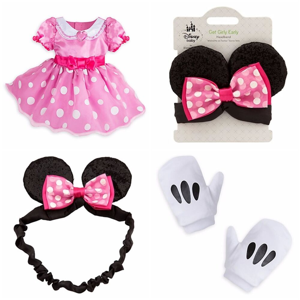 0a313acdb Details about Disney Store Minnie Mouse Baby Deluxe Costume Pink Dress  Gloves Headband EARS