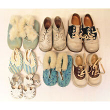 Lot of Vintage Baby Toddler Shoes 7 Pair Leather Suede Different Sizes