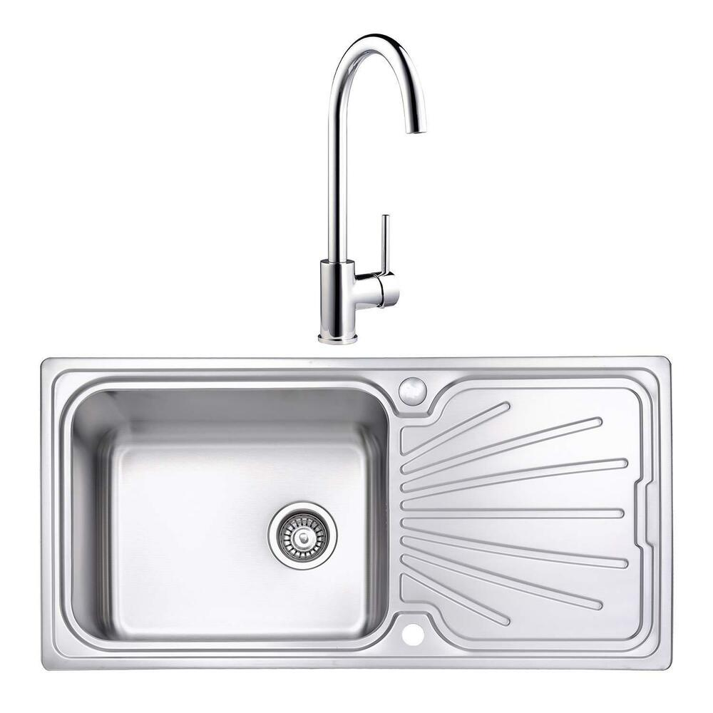 Details about jassferry stainless steel kitchen sink 1 0 large bowl with 1 lever tap pack