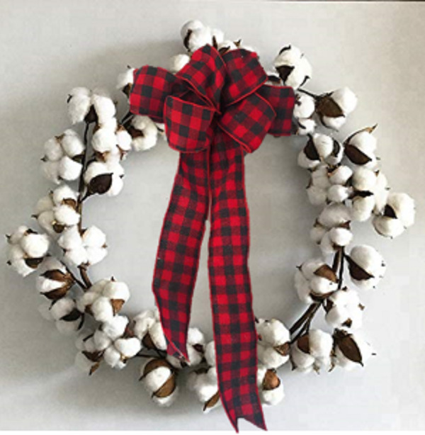 Christmas Cotton Wreath Buffalo Ribbon Bow Farmhouse Decor Country