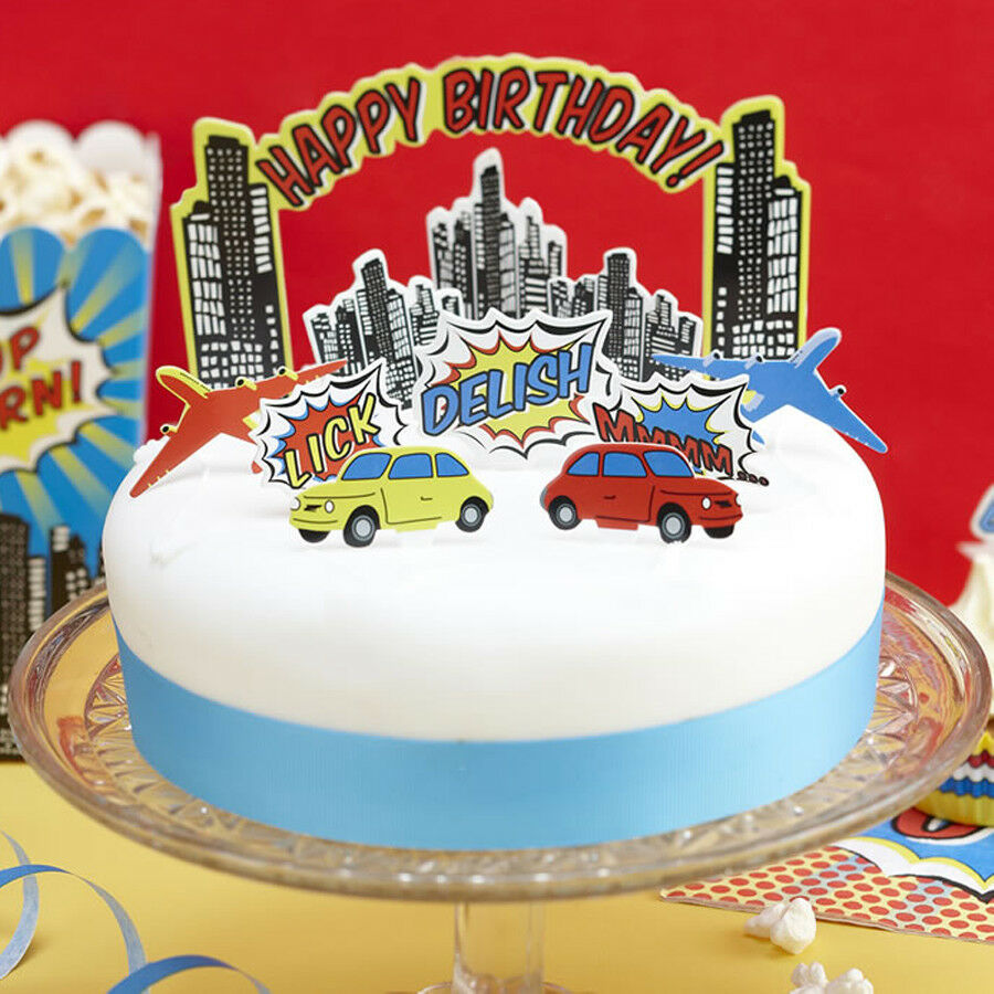 Details About Marvel Theme Pop Art Party Birthday Cake Decoration Kit Ginger Ray