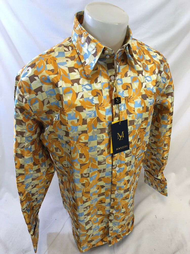 Mens Manzini Button Down Dress Shirt Gold Yellow Blue