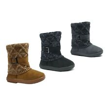 New Kids Snow Boots Toddler Girls Buckle Knitting Boot Faux Fur Fashion Shoe ||