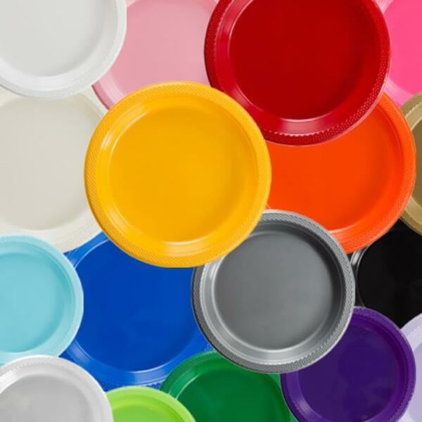Plastic Disposable Plates -Vibrant Solid Colors Luncheon Dinner Party 7