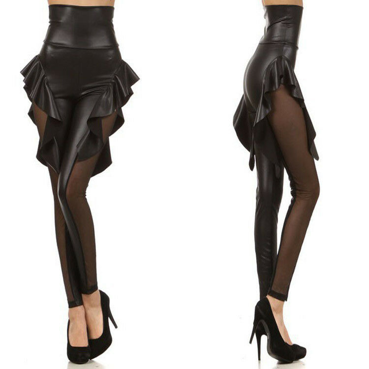 Details about Gothic Black Leather Look Mesh Side Skirt High Waist leggings  Fetish FAST UK