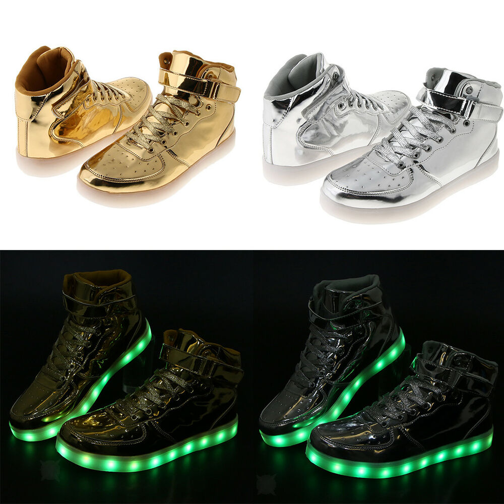 3def5dc385bd Details about Flashing LED Light Up Sneaker High Top Trainer Luminous Shoes  USB Charging