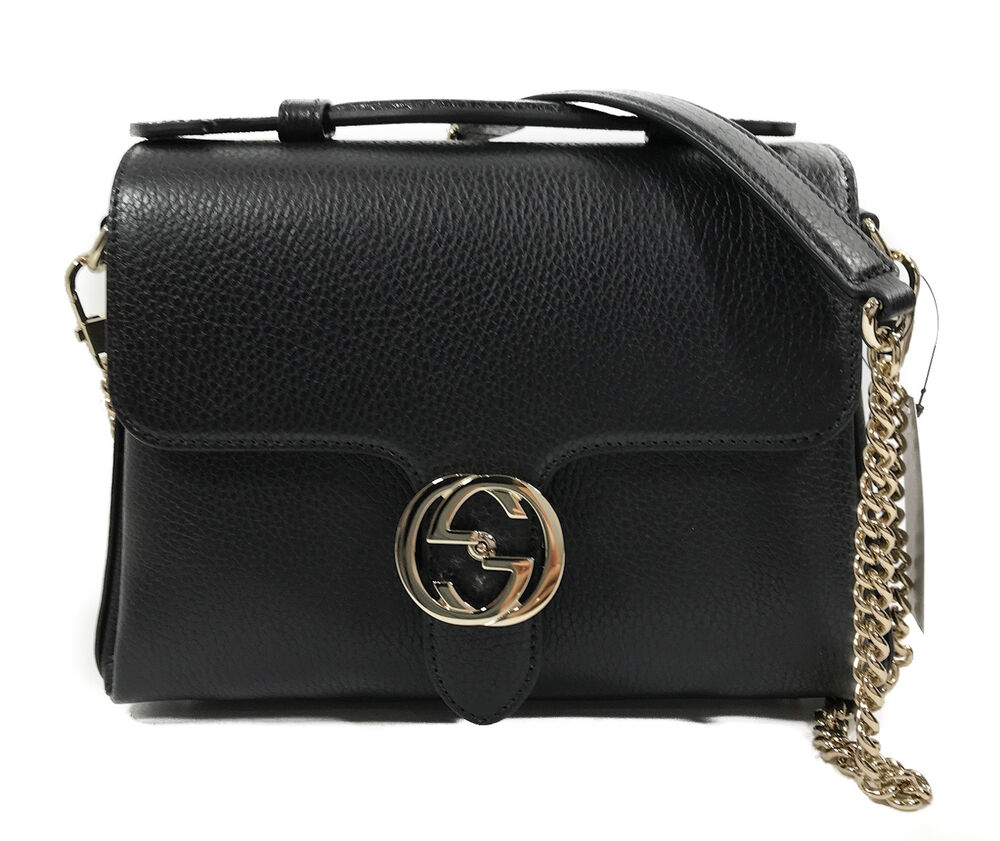 f4876e361 Details about NEW/AUTHENTIC GUCCI 510302 Interlocking G Leather/Chain Borsa Crossbody  Bag