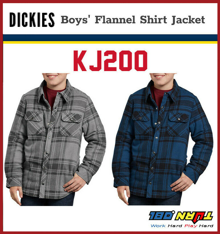 69cbcb49008 Details about DICKIES KJ200 Boys Flannel Sherpa Lining Shirt Kids Winter  Jacket, S-XL(2 COLOR)
