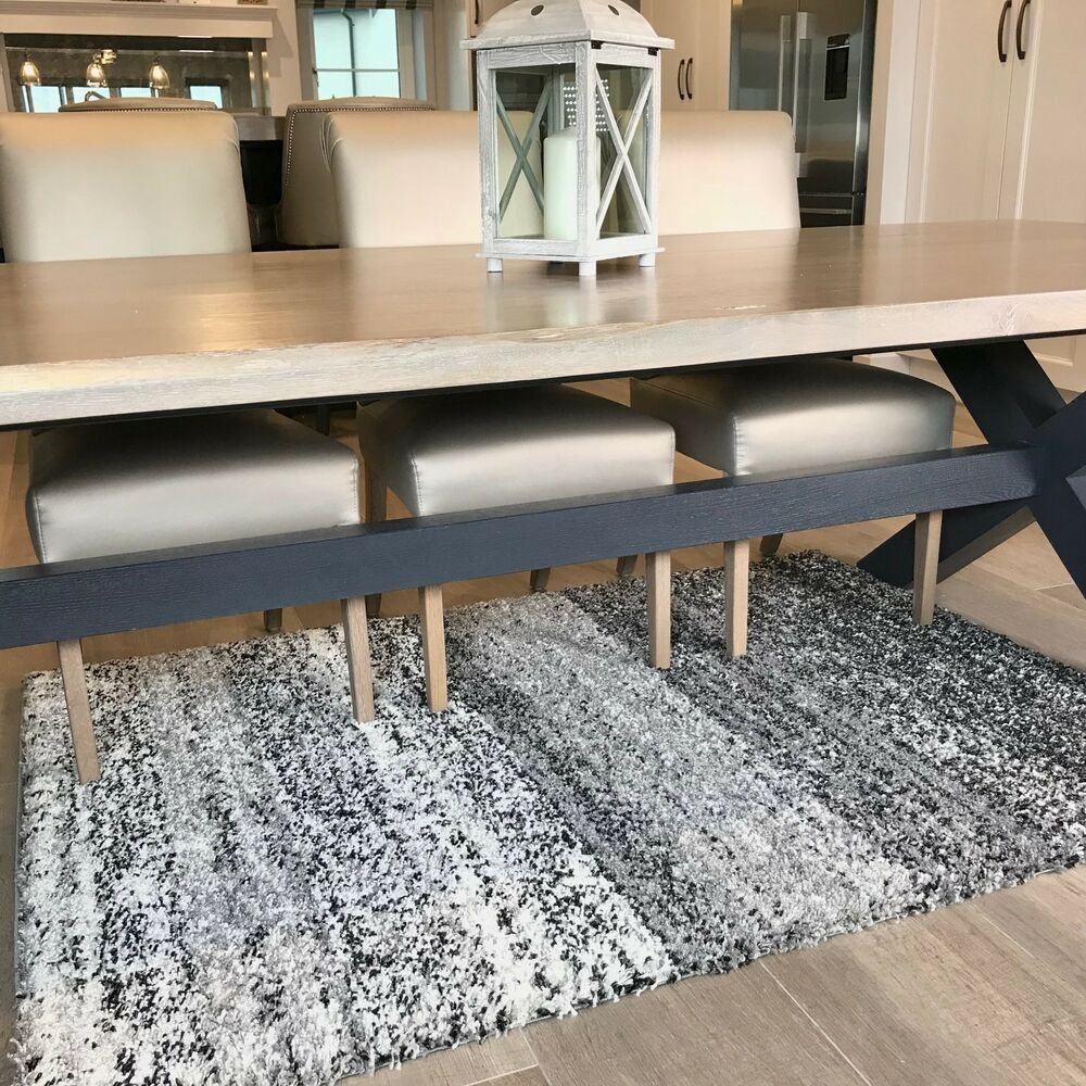 Details About Thick Dense Mottled Black Grey Shaggy Rugs Cosy Non Shed Striped Dining Room Rug