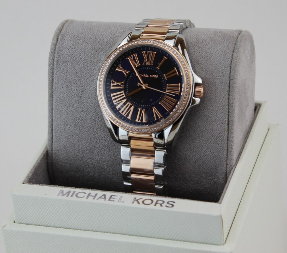cd402b010589 Details about NEW AUTHENTIC MICHAEL KORS KACIE SILVER ROSE GOLD CRYSTALS WOMEN S  MK6185 WATCH