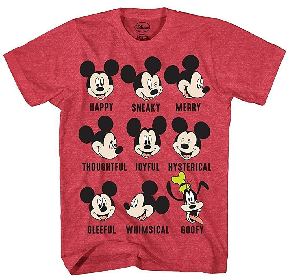 9c2ba2822a65ea Details about Disney Mickey Mouse Goofy Moods World Funny Humor Adult Mens  Graphic T-shirt Tee