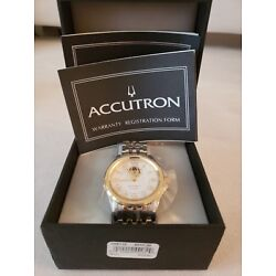 Accutron BULOVA Gemini Automatic Swiss Watch Stainless and Gold-P Mens BRAND NEW