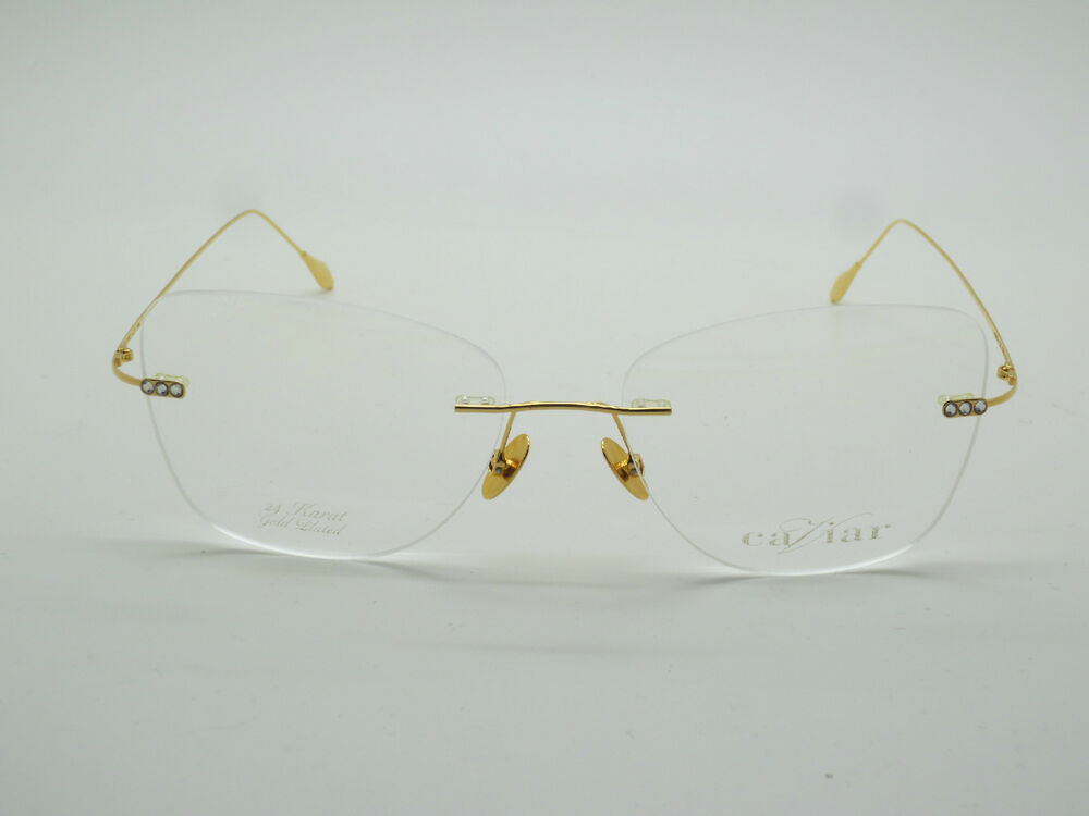 f6a40c1bc3575 Details about New CAVIAR 7002 C21 24 Karat Gold Plated Crystal Rimless 56mm  Rx Eyeglasses