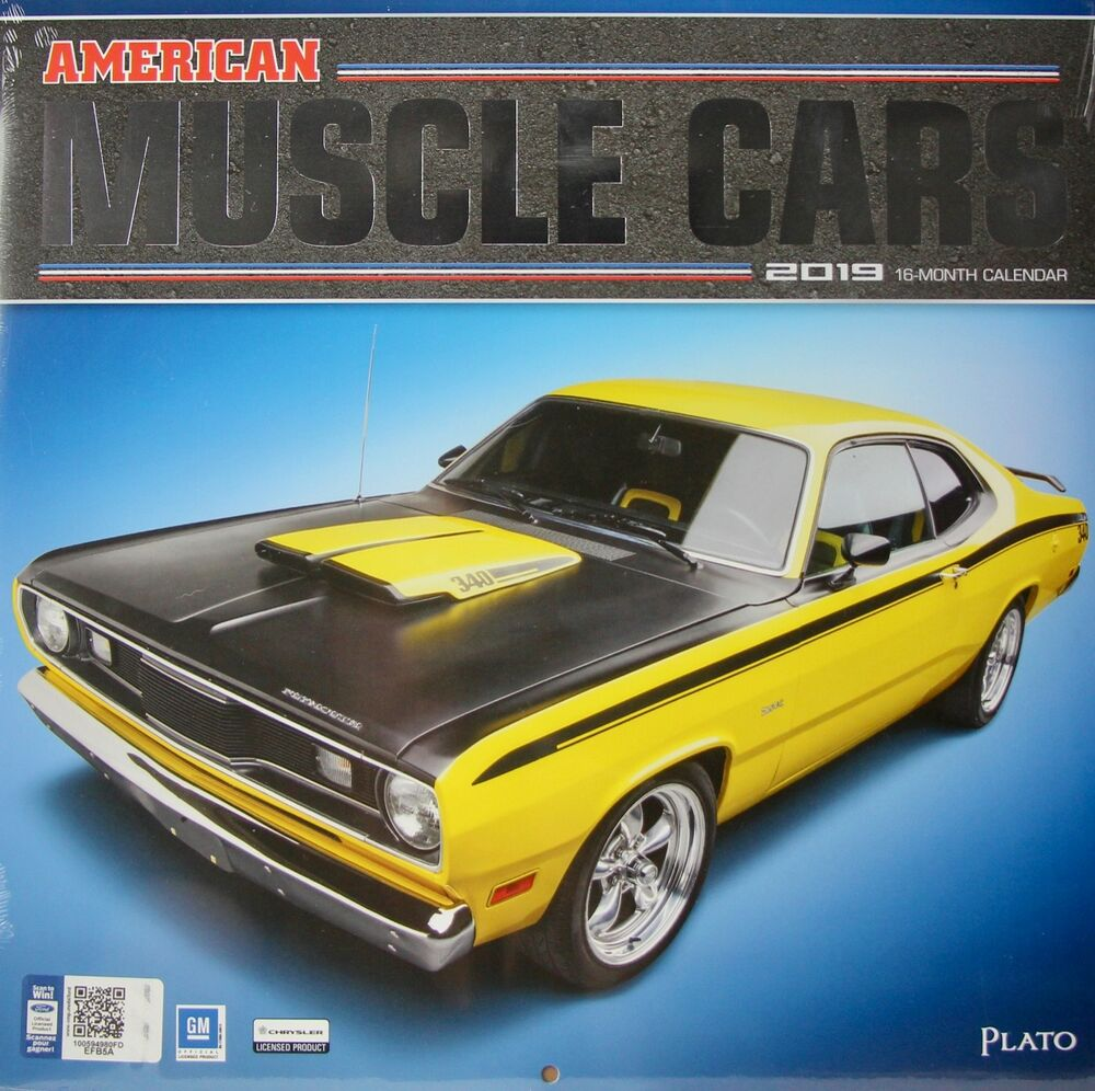 """2019 American Muscle Cars 12"""" X 12"""" Wall Calendar By Plato"""