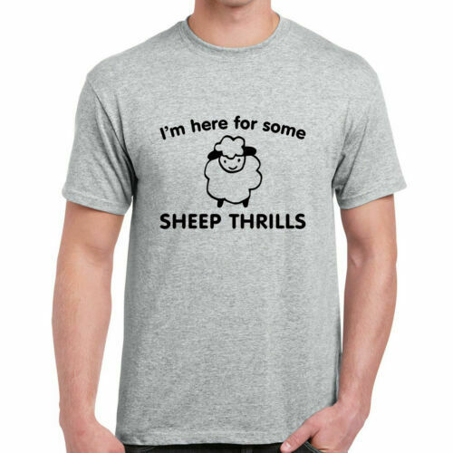 829bf3cb561a Details about Im Here For Some Sheep Thrills - Mens T-Shirt - Pun Animal  Gift Funny Text