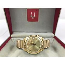 Vintage 1967 Bulova Accutron M7 Gold Filled Original Box And Leather Strap