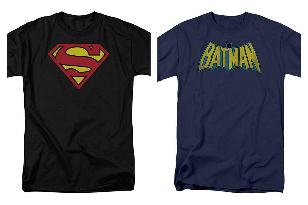 64f84b3f0 Details about 2 Pack Combo Superman & Batman Logo DC Comics Adult Men's  Graphic T-Shirts Tee