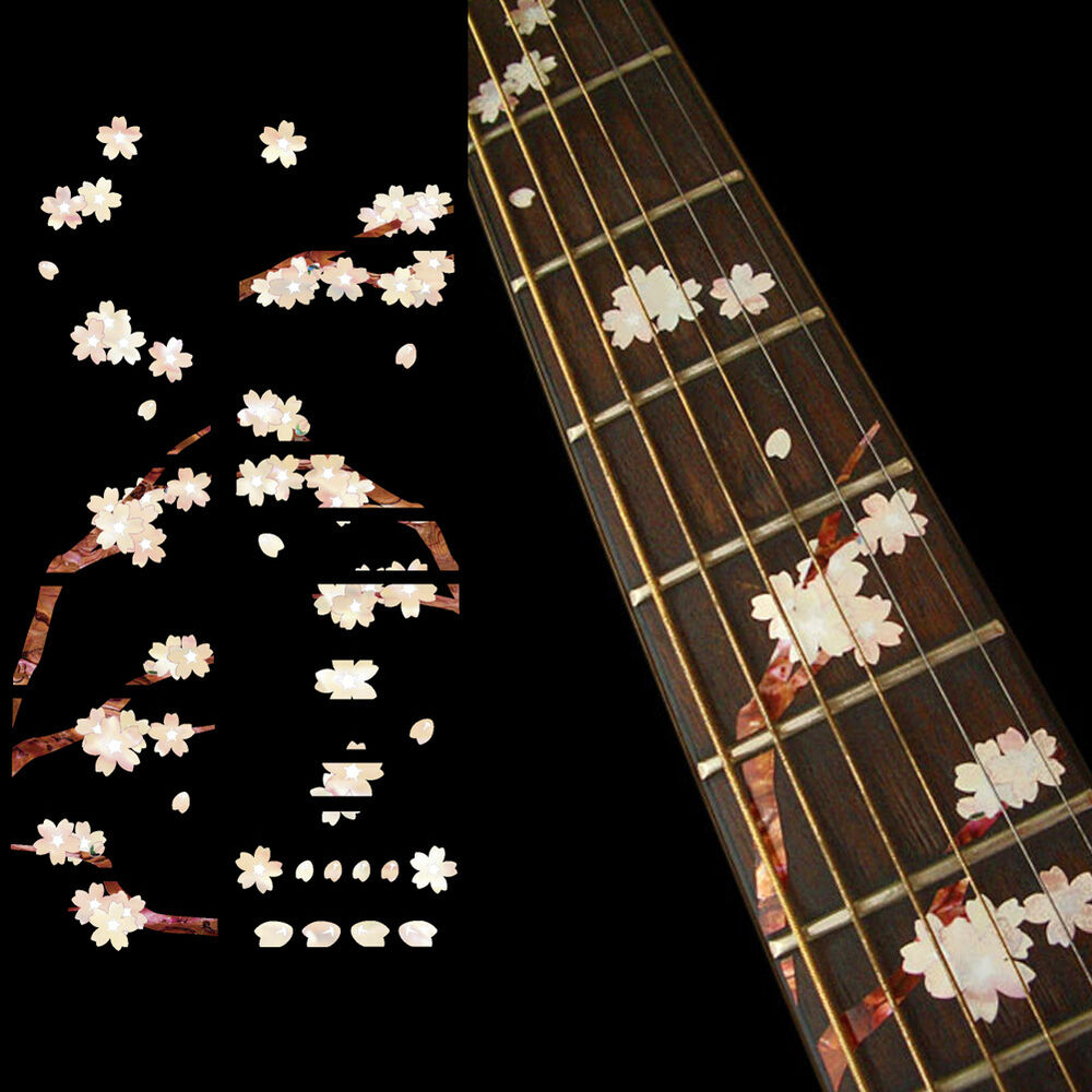 Details about inlay sticker decals fret markers cherry blossom sakura tree for guitar