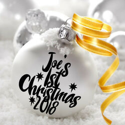 1st Christmas 2021 Personalised Name Decal Sticker For Bauble Home Decor Gift
