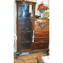 1900-1930  Antique Secretary Side by Side Curved Glass Bookcase Curio Cabinet