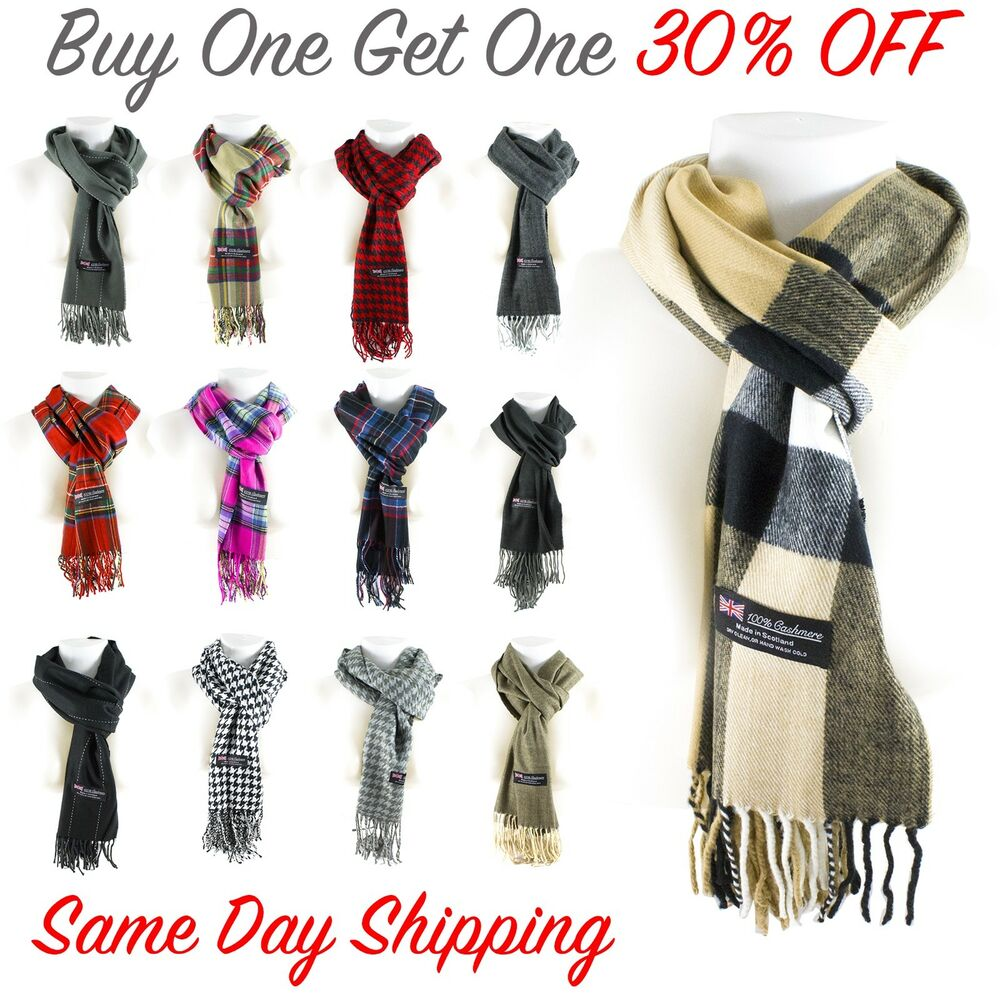 d592558df1264 Details about Women Men High Quality CASHMERE Scarf Solid Plaid Wool  SCOTLAND Winter Scarf New