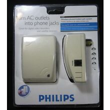 Philips Turn AC Outlets Into Phone Jacks New Old Stock PHO900