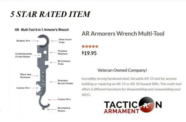 Armorer's Combo Wrench Multi-Tool - All in One tool - Barrel Nut - Castle Nut, +