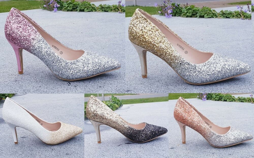 f1ac2b57df4 Details about New Ladies Glitter Ombre Low Kitten Heel Pointed Court Shoes  Size 3-8