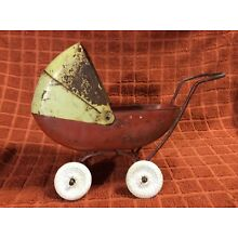 """VINTAGE TOY DOLL CARRIAGE BABY BUGGY STROLLER METAL RARE 8.5"""" Long"""